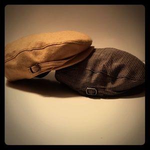 Pair Janie & Jack Newsboy Hats (Flat Caps) 12-24m
